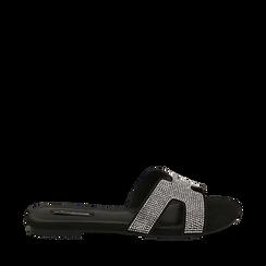 CALZATURA FLAT MICROFIBRA PIETRE NERO, Chaussures, 154983281MPNERO036, 001a