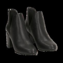Ankle boots neri in eco-pelle, tacco 8 cm , Stivaletti, 142762723EPNERO036, 002 preview