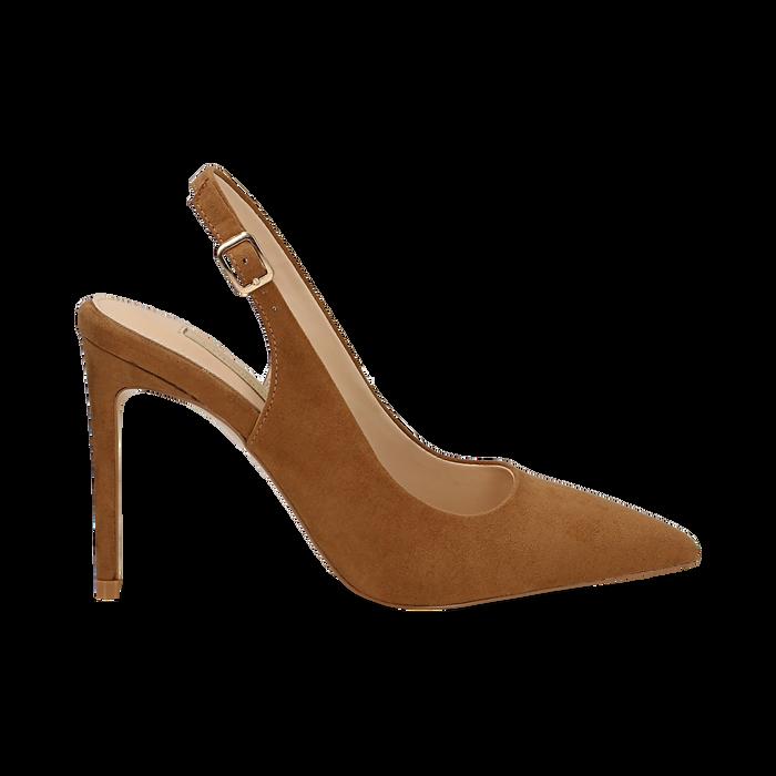 Slingback marroni in microfibra con punta affusolata, tacco stiletto 10 cm, Scarpe, 132120710MFMARR036