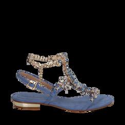 Sandali gioiello flat azzurri in microfibra, Primadonna, 134994222MFAZZU035, 001a