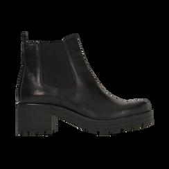 Chelsea Boots neri in vera pelle, tacco medio 5,5 cm, Primadonna, 127723509PENERO, 001 preview