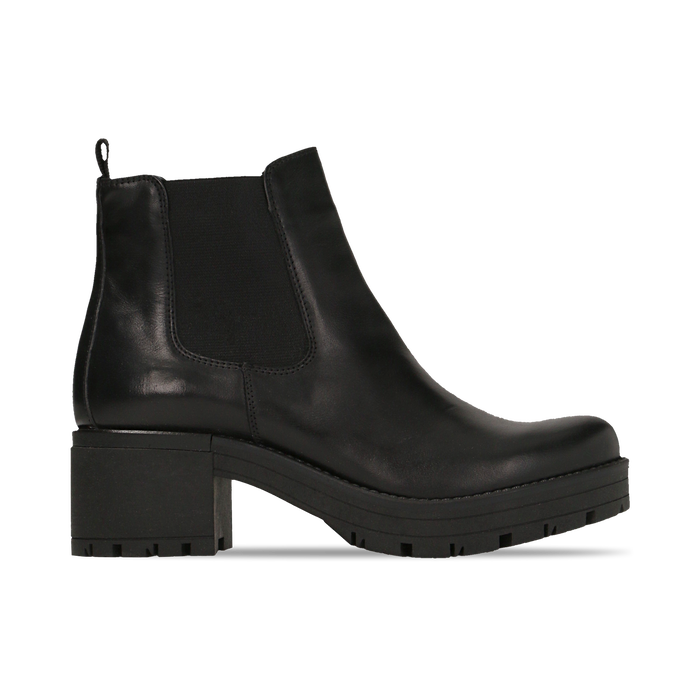 Chelsea Boots neri in vera pelle, tacco medio 5,5 cm, Primadonna, 127723509PENERO