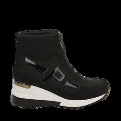 Sneakers a calza nere in tessuto tecnico, zeppa 6 cm, 16A718203TSNERO037, 001a