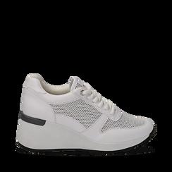 Sneakers bianche in eco-pelle con zeppa, Scarpe, 132008360EPBIAN036, 001a