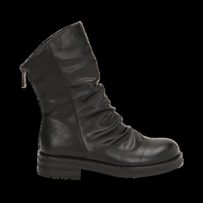 Ankle boots drappeggiati neri in eco-pelle, Stivaletti, 14A719675EPNERO035