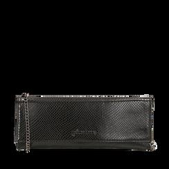 Pochette piatta nera in eco-pelle snake print, Primadonna, 145122510PTNEROUNI, 001a