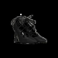 Décolleté nere con lacci sul collo del piede, tacco stiletto 10 cm, Scarpe, 122166011EPNERO, 002 preview