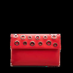 Pochette bustina rossa in ecopelle con oblò dorati, Primadonna, 123308604EPROSSUNI, 001a