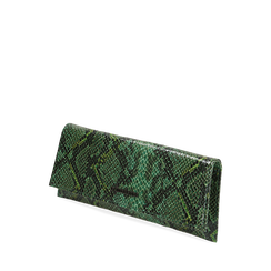 Pochette piatta verde in eco-pelle snake print, Primadonna, 145122510PTVERDUNI, 002a