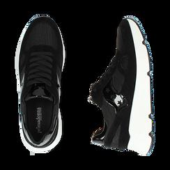 Sneakers nere in tessuto tecnico, zeppa 4 cm , Primadonna, 162801993TSNERO035, 003 preview