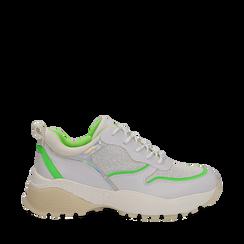Dad shoes bianche in tessuto con dettagli fluo green, Primadonna, 135018146TSBIVE035, 001a