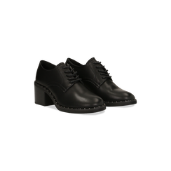 Francesine stringate nere con mini-borchie e punta tonda, 129322751EPNERO036, 002