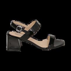 Sandali neri in vernice, tacco 6,50 cm, Primadonna, 152790111VENERO036, 001 preview