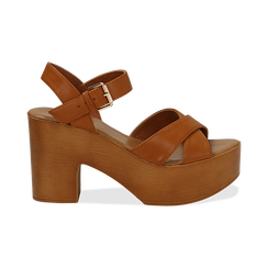 Sandali cuoio in eco-pelle, tacco 9 cm , Primadonna, 134987035EPCUOI037, 001 preview