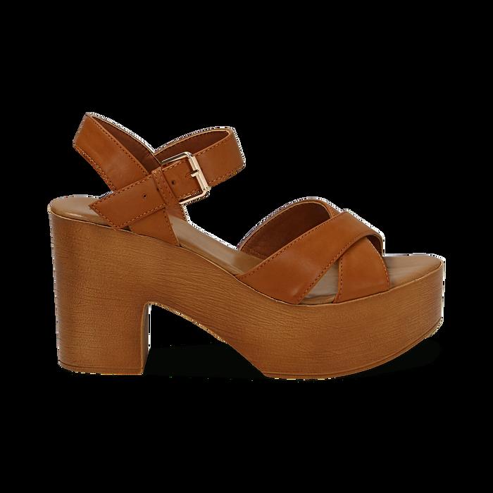 Sandali cuoio in eco-pelle, tacco 9 cm , Primadonna, 134987035EPCUOI037