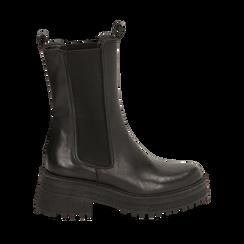 Chelsea boots neri in pelle di vitello, suola 6 cm, Primadonna, 168915835VINERO036, 001a