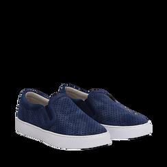 Slip-on blu in nabuk, Scarpe, 131572604NBBLUE035, 002a