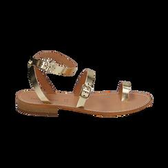 Sandali oro laminato, Scarpe, 158100570LMOROG036, 001 preview