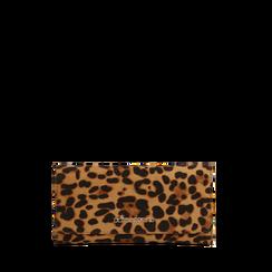 Portafoglio leopard in microfibra scamosciata con 12 vani, Saldi, 122200022MFLEOPUNI, 001a