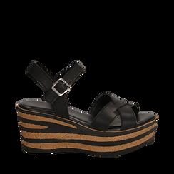 Sandali platform neri in eco-pelle, zeppa righe optical 8 cm , Saldi Estivi, 13A139255EPNERO035, 001a