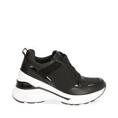 Sneakers nere in tessuto, zeppa 8,5 cm , Primadonna, 182817932TSNERO035, 001a