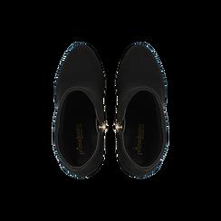 Tronchetti neri scamosciati con plateau, tacco 13,5 cm, Scarpe, 122138410MFNERO, 004 preview