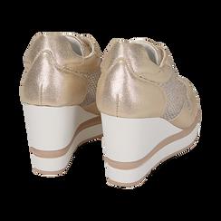 Baskets doré avec talon compensées, Chaussures, 152882661LMOROG039, 004 preview