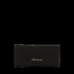 Portafoglio nero in microfibra scamosciata con 12 vani, Saldi, 122200022MFNEROUNI, 001a