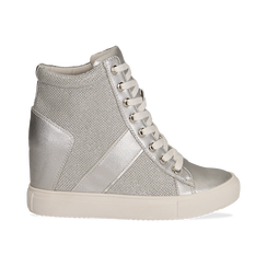 Sneakers argento in tessuto laminato con zeppa, Scarpe, 132005004LMARGE036, 001 preview