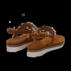 Sandali infradito cuoio in eco-pelle con suola bianca, Primadonna, 134922304EPCUOI, 004 preview