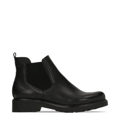 Chelsea Boots neri con tacco quadrato in gomma, Scarpe, 120802204EPNERO035, 001a