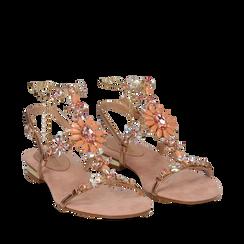 Sandali gioiello flat nude in microfibra, Primadonna, 134994222MFNUDE036, 002a