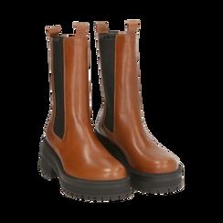 Chelsea boots marroni in pelle di vitello , Primadonna, 168915835VIMARR035, 002a