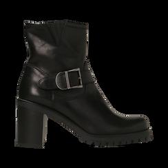 Tronchetti neri in vera pelle con fibbia rettangolare, tacco 5 cm, Scarpe, 127723803PENERO, 001 preview