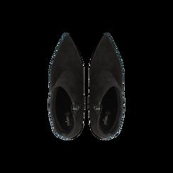 Tronchetti neri in vero camoscio, tacco 5 cm, Scarpe, 12D614011CMNERO, 004 preview