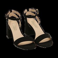 Sandali neri in microfibra, tacco 7,50 cm, Scarpe, 154891720MFNERO038, 002 preview