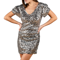 Minidress argento con paillettes, Vêtements, 15B411405TSARGEL, 001a