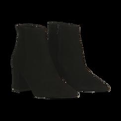 Tronchetti neri in vero camoscio, tacco 5 cm, 12D614011CMNERO040, 002