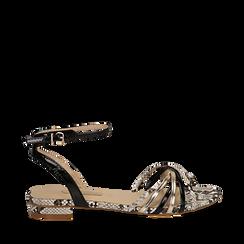 Sandali flat multilistino nero in eco-pelle, effetto snake skin, Scarpe, 132174722PTNERO035, 001a