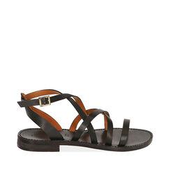Sandales noires en cuir de vachette, Primadonna, 15D620006VANERO036, 001a