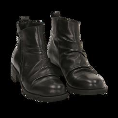 Biker boots neri in pelle di vitello drappeggiata, Primadonna, 14A919608VINERO035, 002 preview