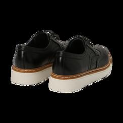Stringate flatform nere in eco-pelle, Scarpe, 133009503EPNERO036, 004 preview