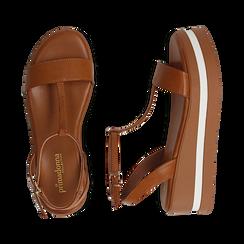 Sandali platform cuoio in eco-pelle, zeppa 5 cm , Primadonna, 132147513EPCUOI036, 003 preview