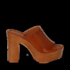 Sandali platform cuoio in eco-pelle, tacco 12 cm , Primadonna, 132177611EPCUOI038, 001a