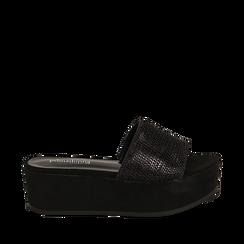 Zeppe platform nere con fascia laminata, zeppa 5 cm, Saldi Estivi, 111702707LMNERO035, 001a