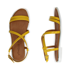 Sandali flat gialli in eco-pelle, Saldi Estivi, 136102003EPGIAL036, 003 preview