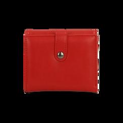 Portafoglio compatto rosso in ecopelle con 6 vani, Saldi, 122200895EPROSSUNI, 002
