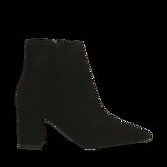 Tronchetti neri in vero camoscio, tacco 5 cm, Primadonna, 12D614011CMNERO036, 001a