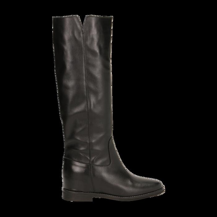 miglior servizio 09474 93643 Stivali Neri in vera pelle, con zeppa interna e tacco 2,5 cm