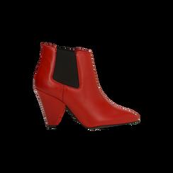 Chelsea Boots rossi in vera pelle, tacco a cono 9 cm, Scarpe, 12D613910VIROSS036, 001